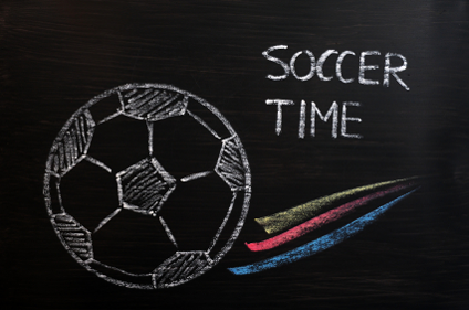 soccer time on chalkboard